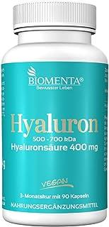 BIOMENTA ACIDO HIALURONICO | 400 mg por cápsula 500-700kDa | 90 VEGANO Ácido Hialurónico Capsulas | por tres meses