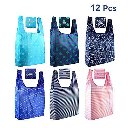 Paquete de 12 bolsas plegables reutilizables para comestibles, ecológicas, plegables, con capacidad para hasta 20 libras, impermeables, lavables y duraderas, ligeras.