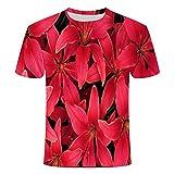 Flor para Hombre Camisas Casuales de Manga Corta -XL