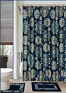 Luxury Home Collection 15 Pc Bath Rug Set Printed Non-Slip Bathroom Rug Mat And Rug Contour And Shower Curtain And Rings