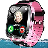 Kids Smart Phone Watch IP67 Waterproof GPS Tracker Watch for 3-12 Year Girls Boys Two-Way Call SOS Micro Chat Camera Games Swim Camp Activity Tracker Electronic Learning Toy Holiday Birthday Gifts