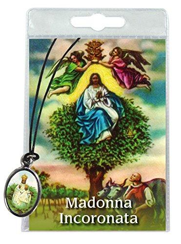 Ferrari & Arrighetti Medalla Madonna dell'Incoronata con cordón y oración en Italiano