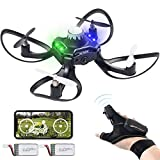 Andals Newest Gesture Control Drone 2.4G 6 Axis 480 HD FPV Camera Mini RC Quadcopter with Altitude Hold, Gravity Sensor Function Outdoor Fly Freely Gesture & APP Control Drone (Deep Black)