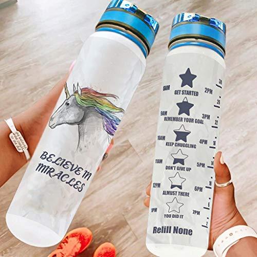 Knowikonwn Botella de agua deportiva de unicornio, a prueba de fugas, reutilizable, para fitness, gimnasio, camping, color blanco, 1000 ml