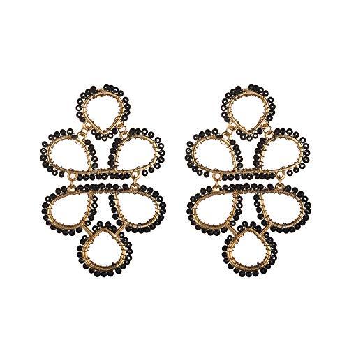 Nicole Miller New York Goldtone Teardrop Boho Tribal Black Beaded Fashionable Dangle Earrings