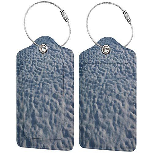 FULIYA Juego de 2 etiquetas de equipaje seguras de alta gama de cuero para maletas, tarjetas de visita o bolsa de identificación de viaje, nieve, invierno, superficie, desigual, frío, sombra