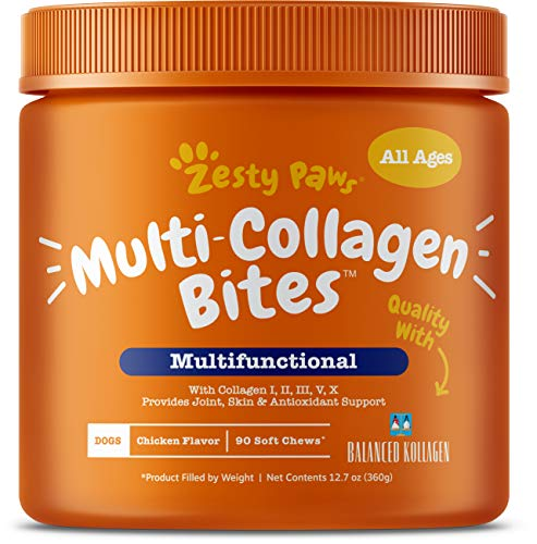 Zesty Paws Multi Collagen Soft Chews for Dogs - for Hip, Joint & Cartilage Support + Skin Health - with Collagen I, II, III, V, X - Plus Eggshell Membrane, Vitamin C & Hyaluronic Acid - 90 Count