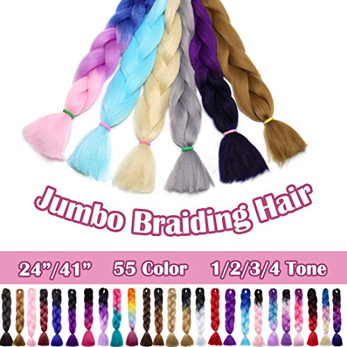 SEGO 24 Inch Ombre Jumbo Braiding Hair Jumbo Braid Hair Extensions Long Jumbo Braids for Box Braids Crochet Hair High Temperature Fiber 3 Tone Colored Purple/Rose Red/Pink 1 Bundle