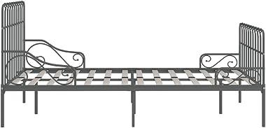 FAMIROSA Cadre de Lit et Sommier à Lattes Gris Métal 160 x 200 cm