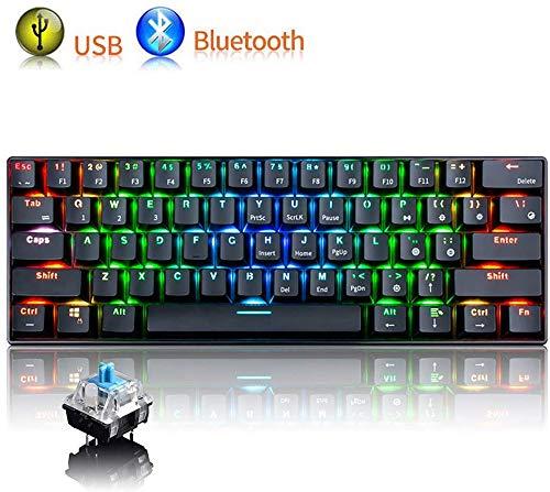 UrChoiceLtd RGB Mechanische Tastatur, RK61 Kabelgebundene/drahtlose Bluetooth-Tastatur 61 Tasten LED-beleuchtete wasserdichte Spieletastatur Volle Anti-Ghosting-Tasten (schwarz/Blauer Schalter)