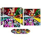 Pirate King Monkey D Luffy One Piece PS4 sticker skin, console and controller full protection, accurate hole position and whole body decals are suitable for PS4 pro