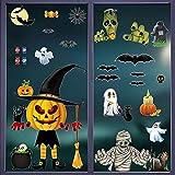 Pegatinas Halloween Ventanas, 8 Hojas Calcomanías Estáticas para Ventanas, Calabaza, Zombi, Telaraña, Fantasma, Murciélago Stickers, para Decoraciones de Fiesta de Halloween