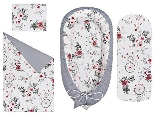 Solvera_Ltd 4tlg. Baby Ausstattung-Set inkl Babynest 90x50 herausnehmbarer Einsatz Flachkissen Krabbledecke Schmeterrling-Kissen für Babys 100% Baumwolle (Träumer/Grau)
