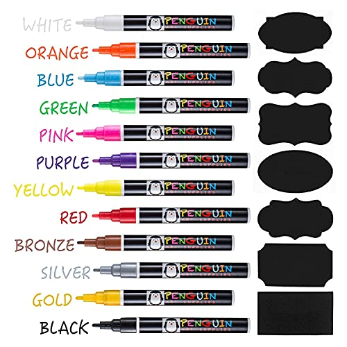 Liquid Chalk Markers - Set of 12 Fine Tip Chalk Pens + FREE 24x Chalkboard Stickers - Whiteboard Markers, Dry Erase Markers, Glass Markers - Use for White Board Markers, Window Markers for Glass washable and Car Decorations