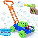 Bubble Machine Lawn Mower for Toddlers with Bubble Gun Kids Automatic Bubble Blower Outdoor Outside Toys for Toddlers 1-3 Bubble Toys for 2-4 Year Old Boys Girls Baby Birthday Gifts 3 Bottles Solution