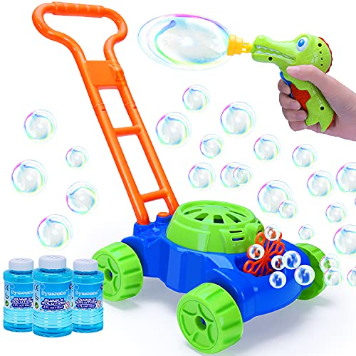 Bubble Machine Lawn Mower for Toddlers with Bubble Gun Kids Automatic Bubble Blower Outdoor Outside Toys for Toddlers Bubble Toys for 3 4 5 6 Year Old Boys Girls Baby Birthday Gifts 3 Bottles Solution