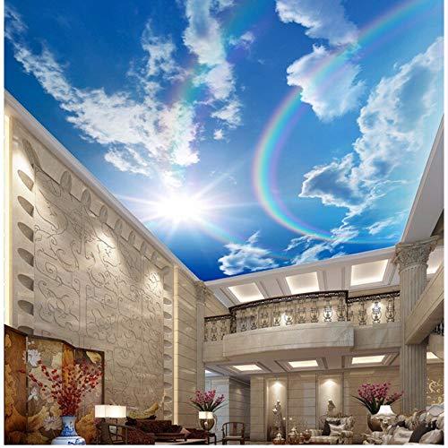 Pmhhc Benutzerdefinierte DeckentapeteRegenbogen Blauer Himmel Landschaft Wandgemälde Für Das Wohnzimmer Schlafzimmer Decke Wand Wasserdicht Wandbild-150X120Cm