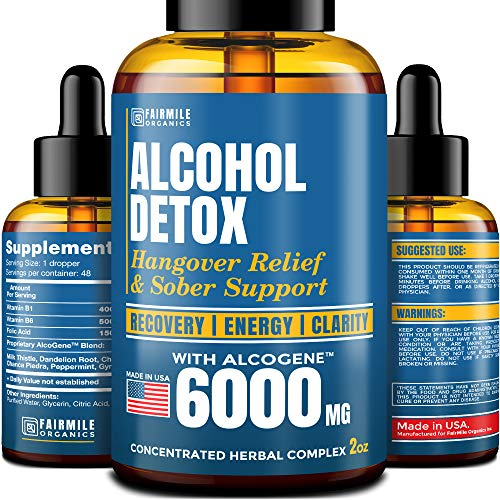 Advanced Liver Detox & Hangover Cure - Made in USA - with Natural Herbal Blend 6000MG - Great Hangover Prevention - Healthy Liver Cleanse & Alcohol Detox - Better Absorption Than Hangover Pills