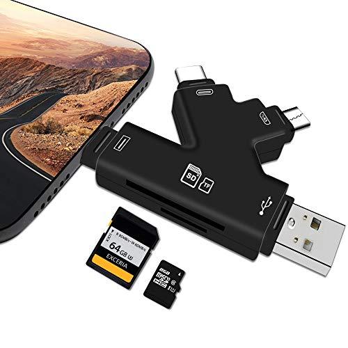 Lector de tarjetas SD para iPhone Android, iPad y Mac, lector de tarjetas SD 4 en 1, lector de tarjetas SD para ver fotos o vídeos de...