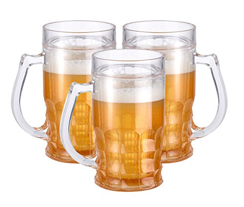 Rosenstein & Söhne Bierglas: Doppelwandiger Getränke-Kühler als Scherz-Bierkrug, 0,3 l, 3er-Set (Doppelwandiger Theater Maßkrug)