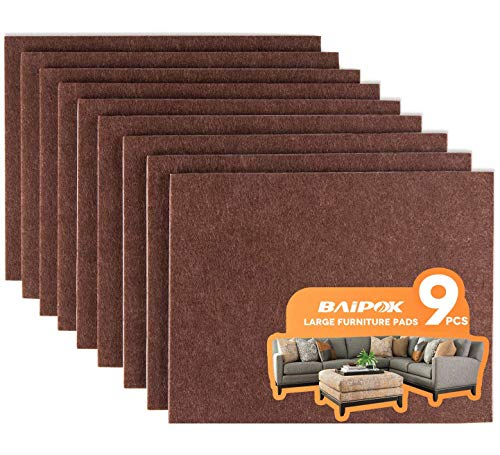 Furniture Pads Set of 9 Self Adhesive Furniture Felt Pads, 8' x 6' x 1/5' Cuttable Felt Chair Pads, Anti Scratch Furniture Floor Protectors for Furniture Legs Hardwood Floor, Brown