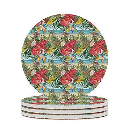Absorbent Ceramic Coasters for Drink with Cork Back Bananas Pineapples Coconuts Mango Pattern Round Cup Coaster Prevent Furniture from Dirty Spills Water Ring and Scratched Set of 4