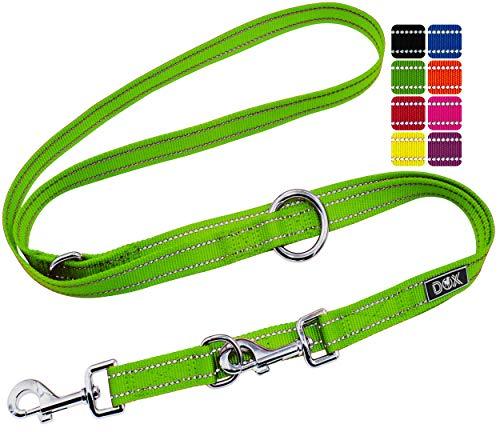 DDOXX Hundeleine Nylon, reflektierend, 3fach verstellbar, 2m | für kleine & große Hunde | Doppel-Leine Zwei Hund Katze Welpe | Schlepp-Leine | Führ-Leine | Lauf-Leine Welpen-Leine | XS, Grün