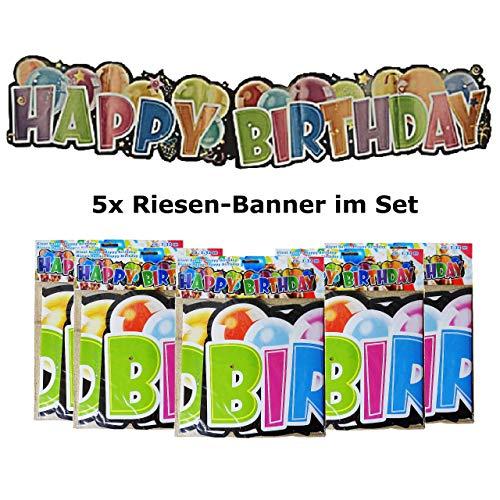 5 x grote banner slinger Happy Birthday verjaardag party decoratie meerkleurig 132cm