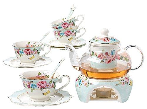 Jusalpha Fine China Flower Series Tea Set-Teacup Saucer Spoon Set with Teapot Warmer & Filter, 16 pcs in 1 set (FDMM Glass pot set 04)