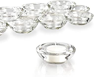 "ELIVIA Clear Tealight Candle Holders - Set of 24, Round Chunky Glass Candle Holder, 3"" Diameter - CH01"