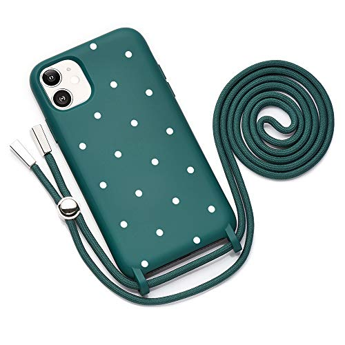 QULT Handykette kompatibel mit iPhone 11 Hülle mit Band Handyhülle mit Kette zum Umhängen Silikon Necklace Kordel Bumper Case Dunkelgrün mit Motiv Punkte