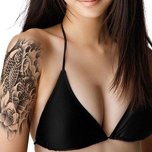 Eleery 10PC 3D Tatouage Temporaire Tattoo Autocollant Ephémère Punk Fleur Poisson Vintage Maquillage Corps