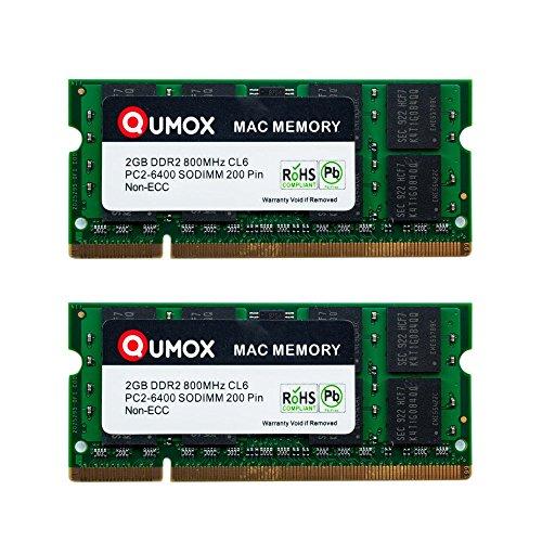 QUMOX Memoria SODIMM DDR2 Apple 4GB Kit (2 x 2GB) PC2-6300 PC2-6400 800MHz para iMac y Macbook