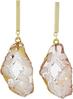 Dangle Drop Earrings Floating Gemstones Druzy-Look (Select Color)