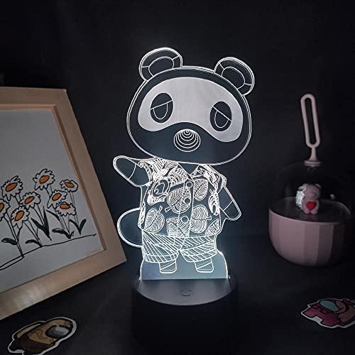 Lampada da scrivania a luce notturna a led 3D Illusion Animal Crossing Game Tom Nook Rvb per la decorazione della stanza degli amici-7 Colors No Remote
