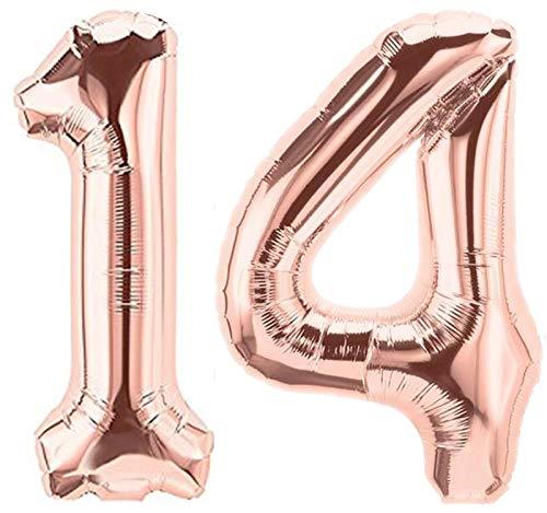 Folienballon Zahl 14 Rosa XL ca. 72 cm hoch - Zahlenballon/Luftballon rosegold für Geburtstagsparty, Jubiläum oder sonstige feierliche Anlässe (Nummer 14)