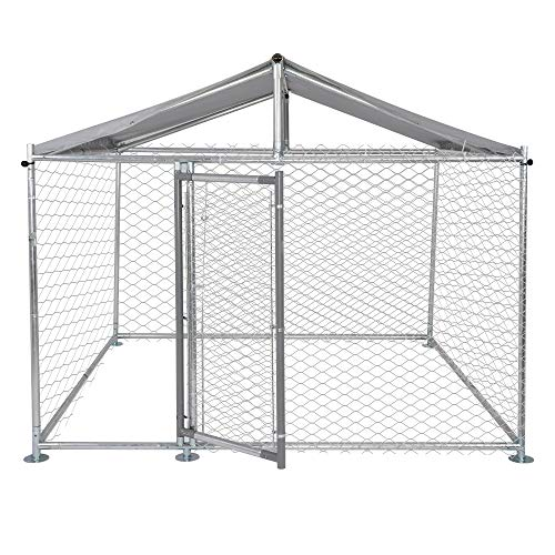 LUCKYERMORE Metal Dog Kennel Outdoor for Large Dog, Easy to Clean & Rust-Resistance Dog Crate with Lockable Dog Gate, with/Without Water Resistance Cover