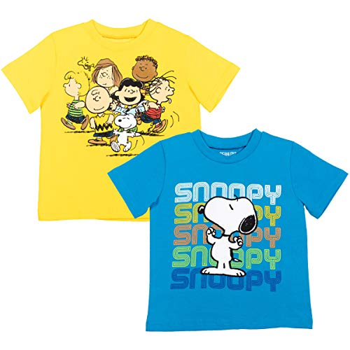 Peanuts Snoopy Toddler Boys 2 Pack Short Sleeve T-Shirt Blue/Yellow 5T