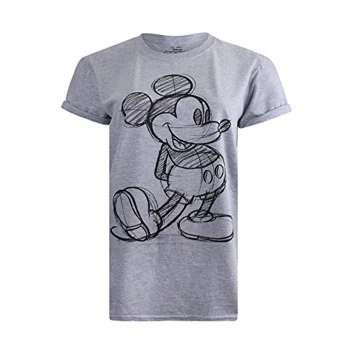 Disney Mickey Mouse Sketch Camiseta, Gris, 38 para Mujer