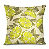 DANGCCI Throw Pillow Cover Square 20x20 Inches Colorful Ripe Citric Lemon Cut Food Drink Yellow Citrus Whole Delicious Juice Dessert Diet Juicy Decorative Pillow Cushion Case Home Decor Pillowcase