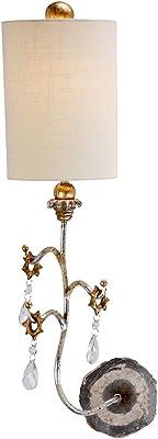 Lampe murale décorative à économie d'énergie VICA E27 à 60 W en acier et lin B19,1 cm 2C72A6F5A5 Moderne Silber, Creme mit Patina