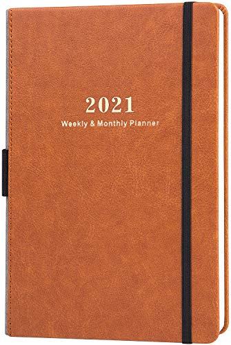 "2021 Planner - Weekly & Monthly Planner with Calendar Stickers, Jan 2021-Dec 2021, 5.75"" X 8.25"", A5 Premium Thicker Paper with Pen Holder, Inner Pocket and 88 Notes Pages"