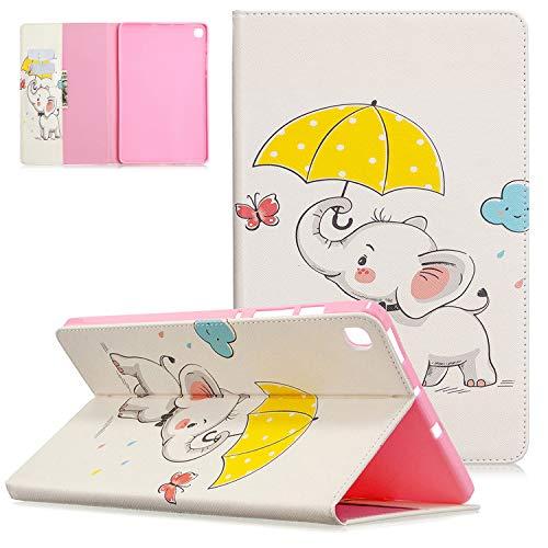 UGOcase - Funda para Samsung Galaxy Tab S6 Lite 10,4 pulgadas (modelo SM-P610 (Wi-Fi) SM-P615 (LTE), funda protectora de piel sintética ligera con función atril (tarjetero), diseño de elefante