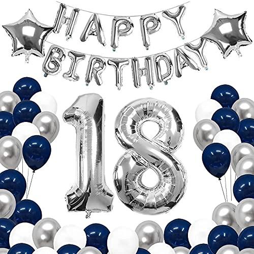 YFWUQI 18 Anni Palloncini Compleanno Decorazioni, Addobbi Compleanno con Argento Blu Palloncini e Happy Birthday Striscione, Birthday Party Decorations per 18 Anni Ragazzo
