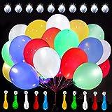 Leuchtende Luftballon mit LED Licht Hochzeit Deko 20 Stück über 24 Stunden 30cm Bunte Leuchtdauer für Hochzeiten Geburtstage Party Kindergeburtstag Happy Birthday Dekoration (Bunte Ohne Schalter)