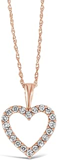 10K White, Rose, or Yellow Gold 1/4 Cttw Conflict Free Diamond Open Heart Pendant Necklace (I-J Color, I2-I3 Clarity), Adjustable Chain 16-18 inch