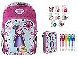 Mochila escolar compatible con Santoro Gorjuss London The Dreamer + estuche de 2 pisos completo + llavero girabrisas + regalo paquete de 10 bolígrafos con purpurina