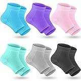 Selizo 6 Pairs Heel Moisturizing Socks Open Toe Socks Cracked Gel Heel Socks Foot Toeless Heel Repair Socks for Women Dry Hard Cracked Feet, 6 Colors