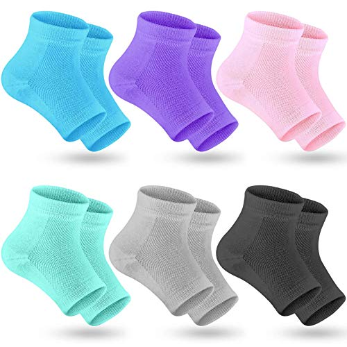 Selizo 6 Pairs Heel Moisturizing Socks Open Toe Socks Cracked Gel Heel Socks Foot Toeless Heel...