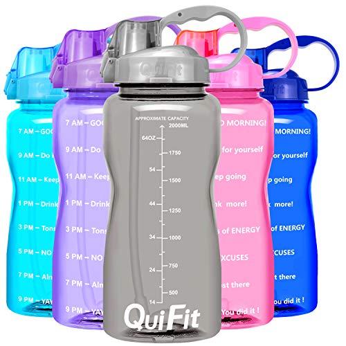 QuiFit 2l Botella de Agua Deportiva con Tiempo de Motivación Marcado Botella de Agua Extraíble Paja y a Prueba deFugas Tapa BPA Free (Gris)